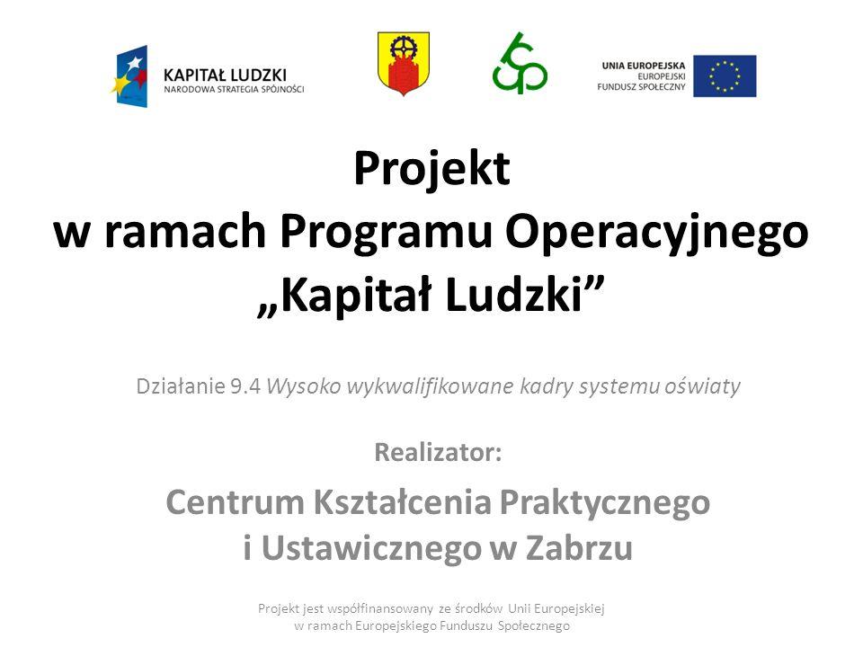 """Projekt w ramach Programu Operacyjnego """"Kapitał Ludzki"""