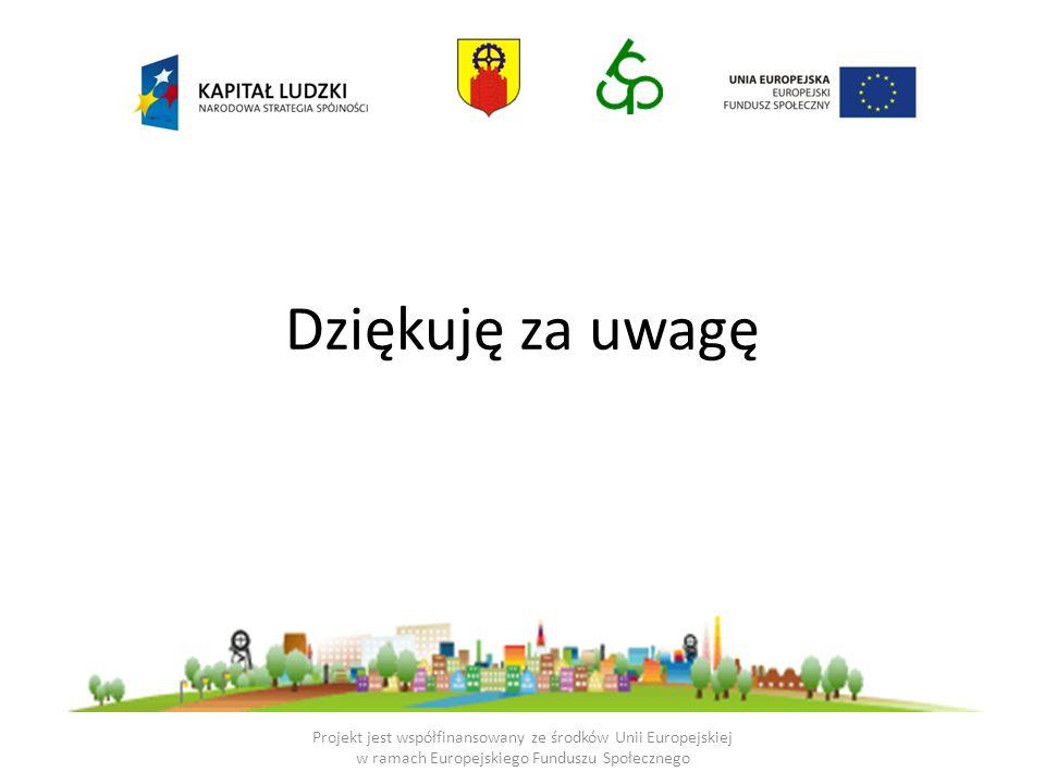Dziękuję za uwagęProjekt jest współfinansowany ze środków Unii Europejskiej w ramach Europejskiego Funduszu Społecznego.