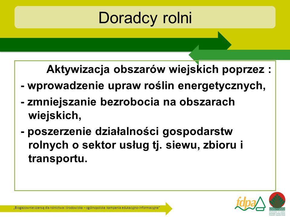 Doradcy rolni Aktywizacja obszarów wiejskich poprzez :