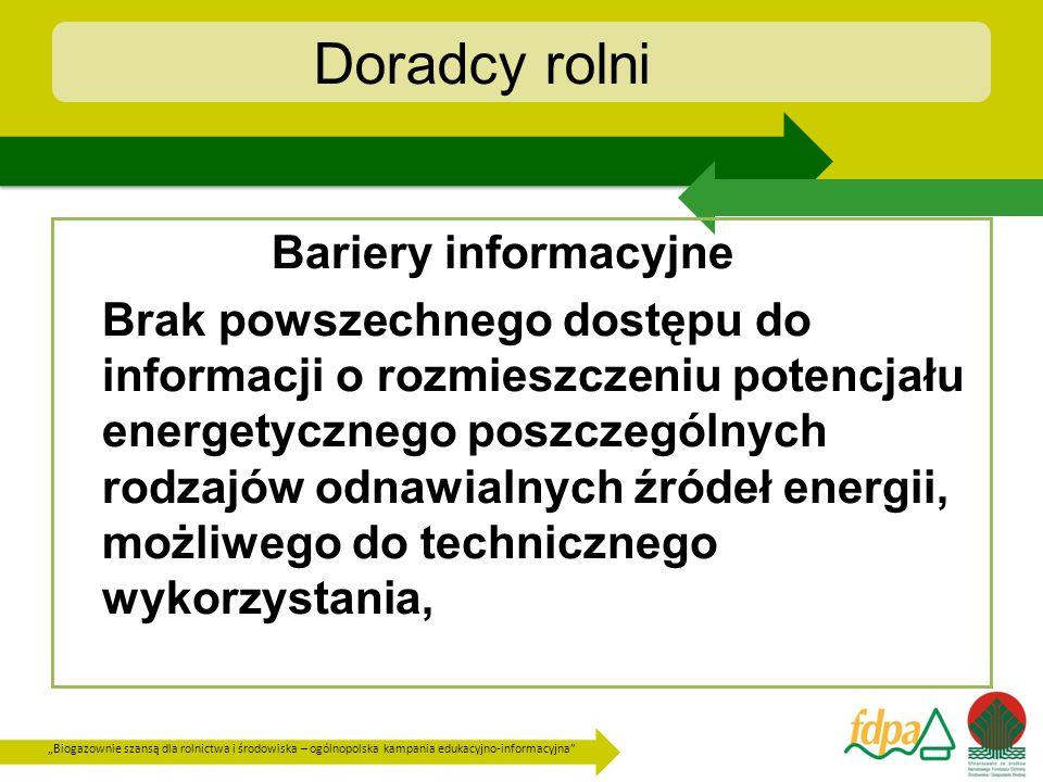 Doradcy rolni Bariery informacyjne