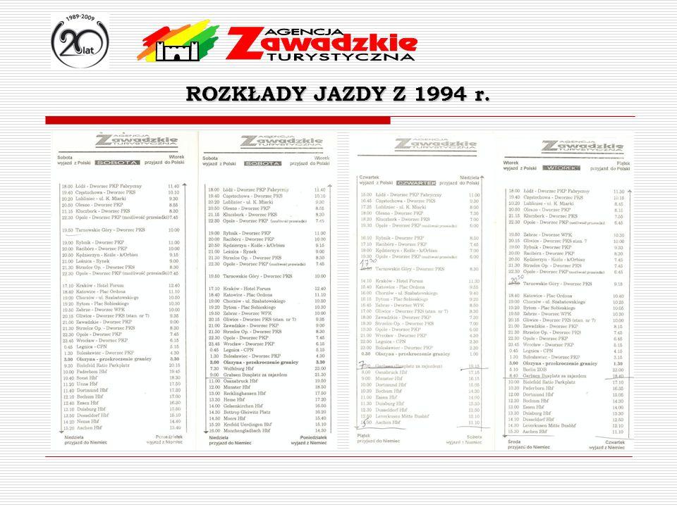 ROZKŁADY JAZDY Z 1994 r. 3 razy w tygodniu Wtorek przez bielefeld