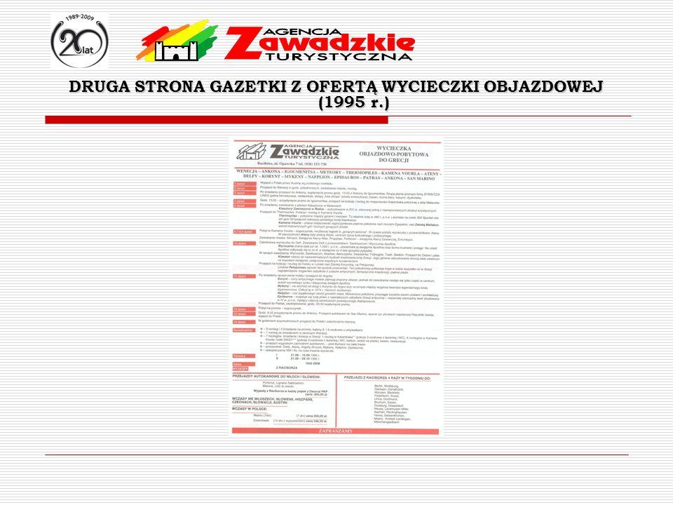 DRUGA STRONA GAZETKI Z OFERTĄ WYCIECZKI OBJAZDOWEJ (1995 r.)