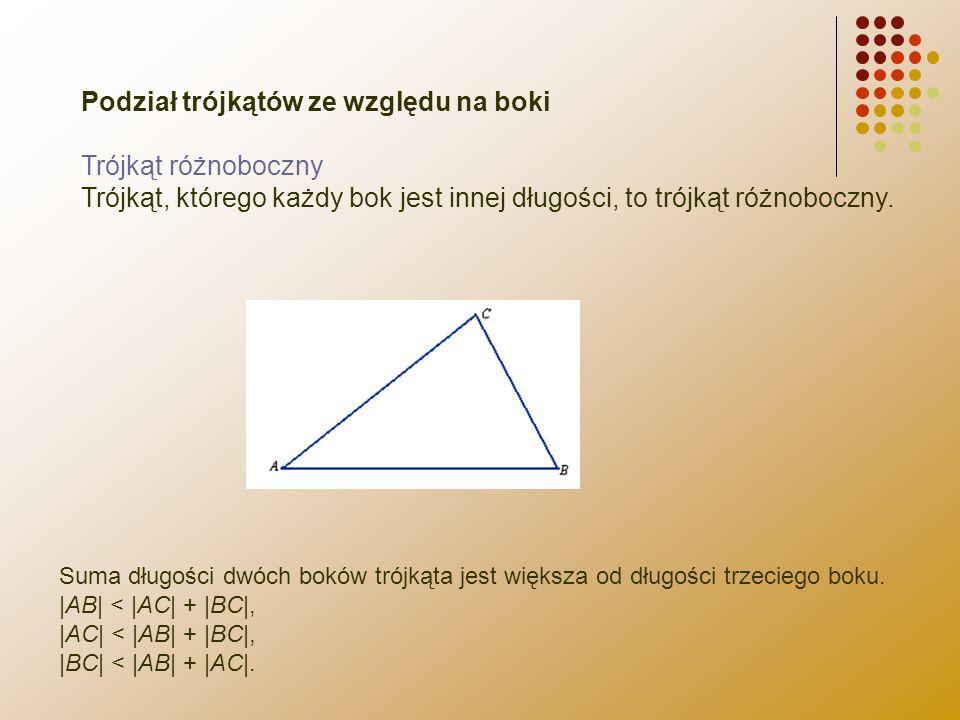 Podział trójkątów ze względu na boki Trójkąt różnoboczny