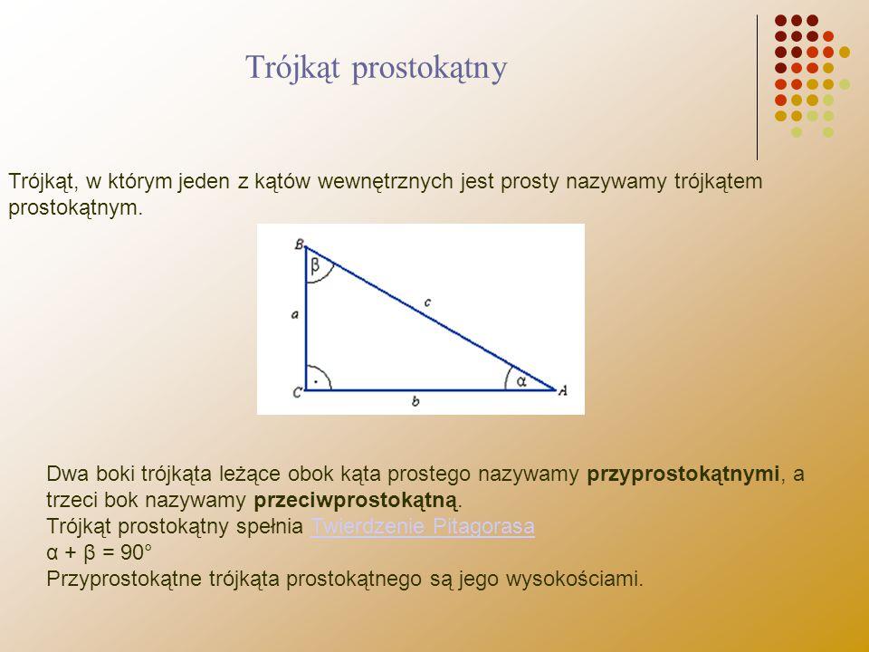 Trójkąt prostokątny Trójkąt, w którym jeden z kątów wewnętrznych jest prosty nazywamy trójkątem prostokątnym.