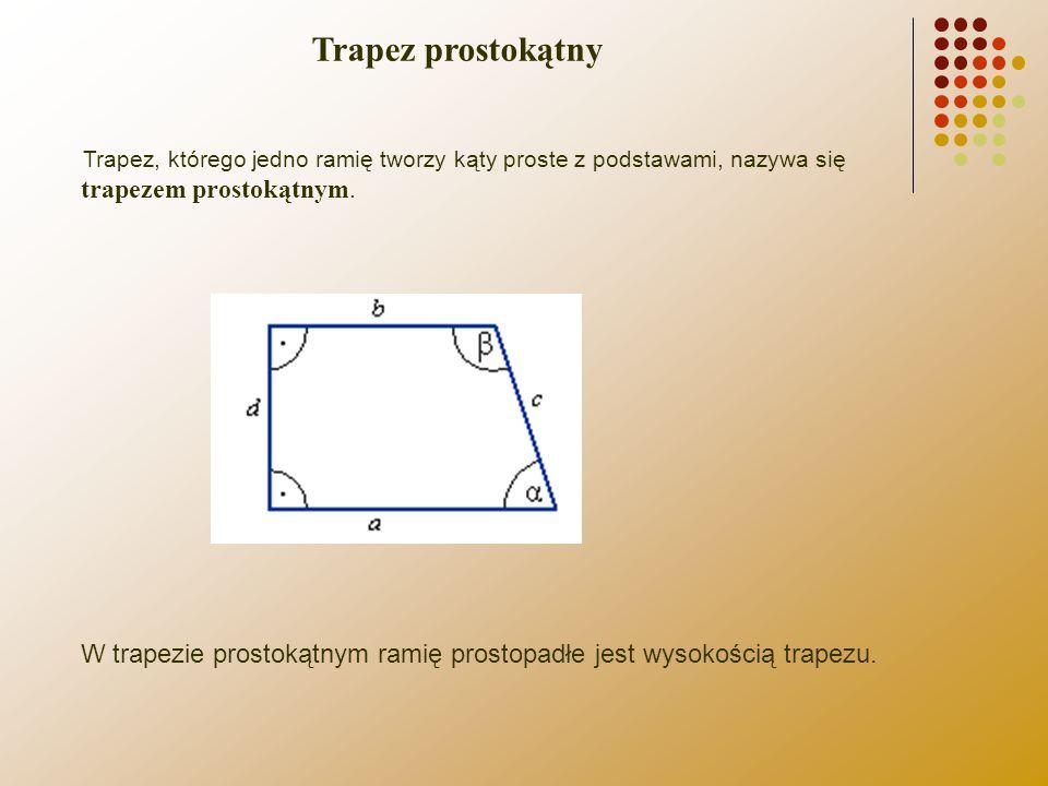 Trapez prostokątny Trapez, którego jedno ramię tworzy kąty proste z podstawami, nazywa się trapezem prostokątnym.