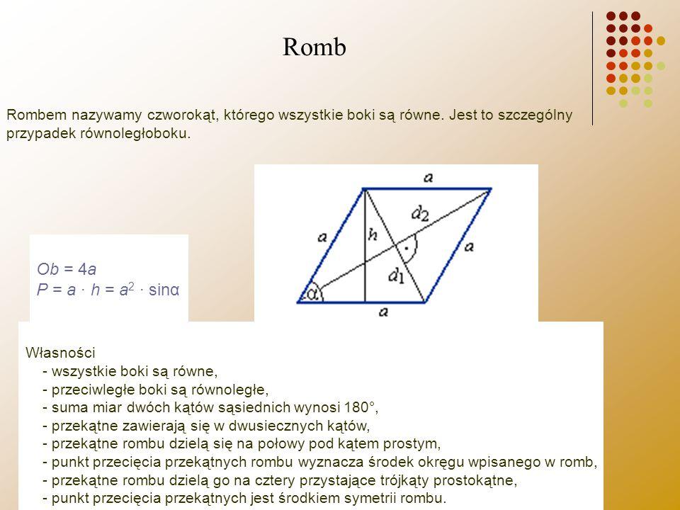 Romb Ob = 4a P = a · h = a2 · sinα
