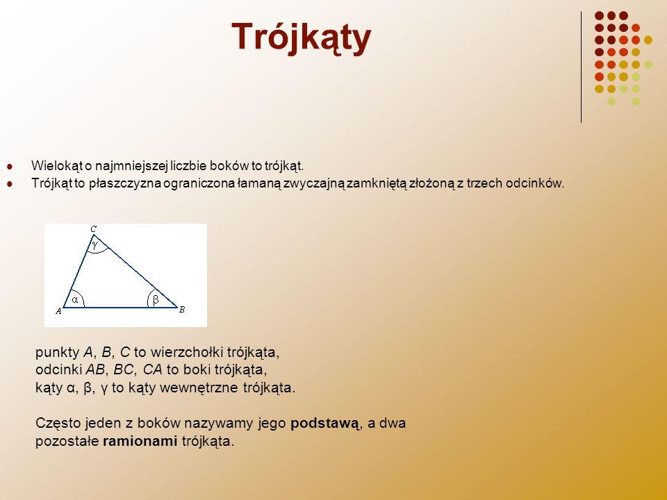 Trójkąty Wielokąt o najmniejszej liczbie boków to trójkąt. Trójkąt to płaszczyzna ograniczona łamaną zwyczajną zamkniętą złożoną z trzech odcinków.