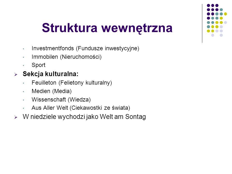 Struktura wewnętrzna Sekcja kulturalna: