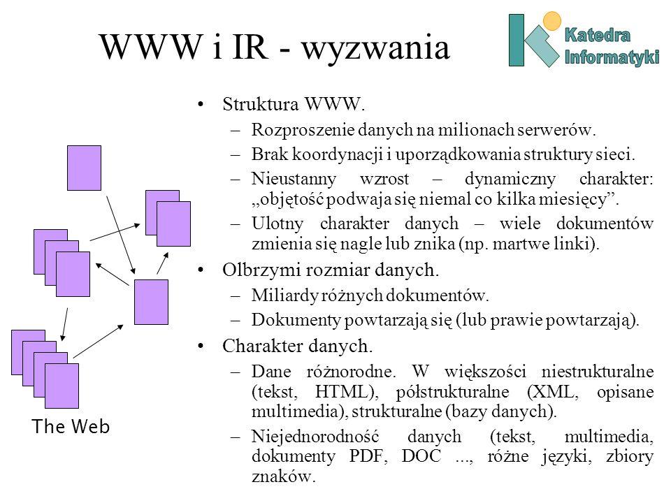WWW i IR - wyzwania Struktura WWW. Olbrzymi rozmiar danych.