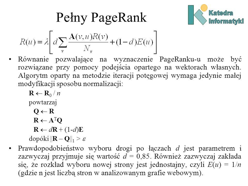 Pełny PageRank Katedra. Informatyki.