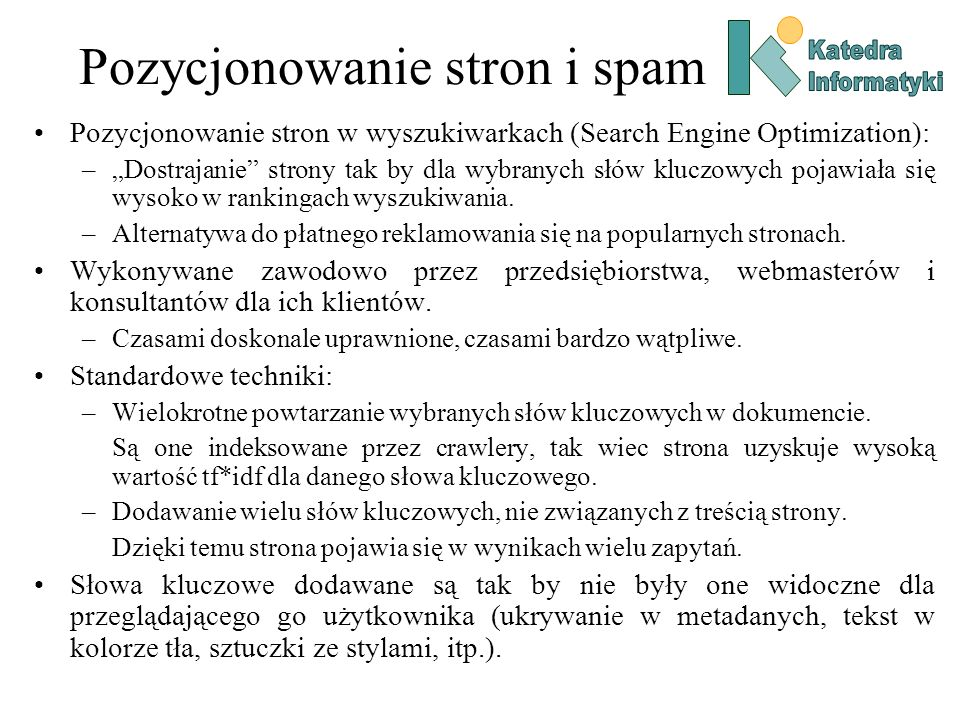 Pozycjonowanie stron i spam