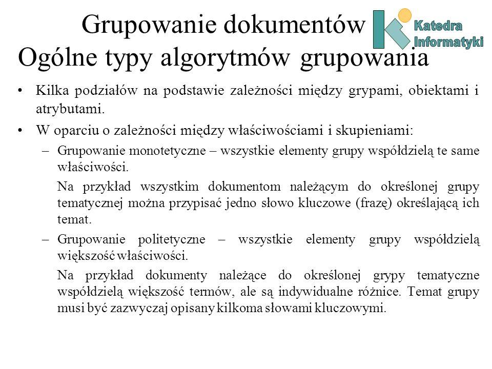 Grupowanie dokumentów Ogólne typy algorytmów grupowania