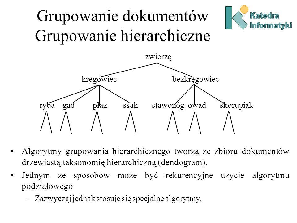 Grupowanie dokumentów Grupowanie hierarchiczne