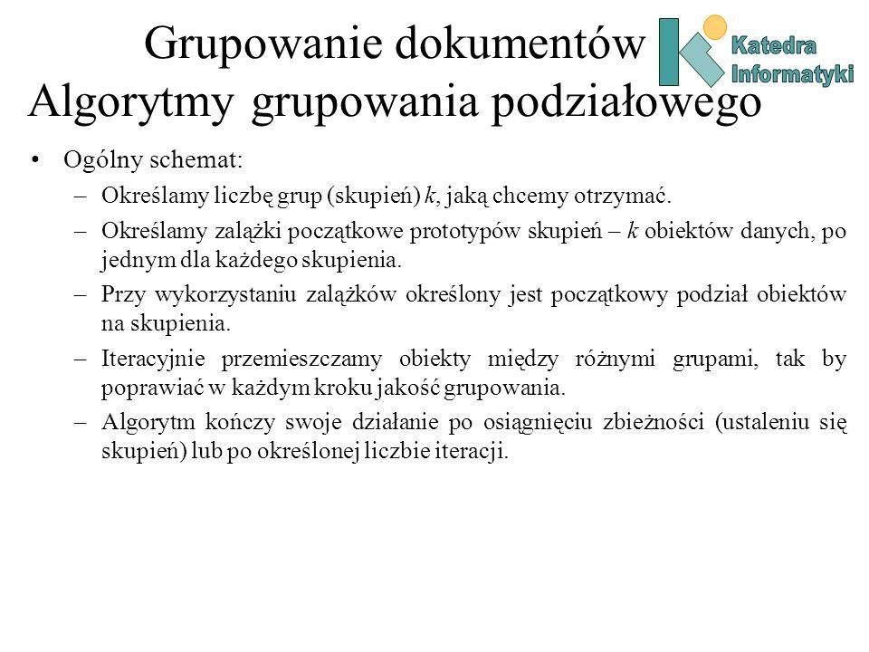 Grupowanie dokumentów Algorytmy grupowania podziałowego