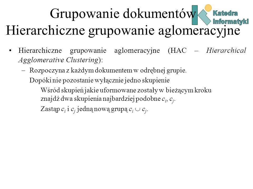 Grupowanie dokumentów Hierarchiczne grupowanie aglomeracyjne