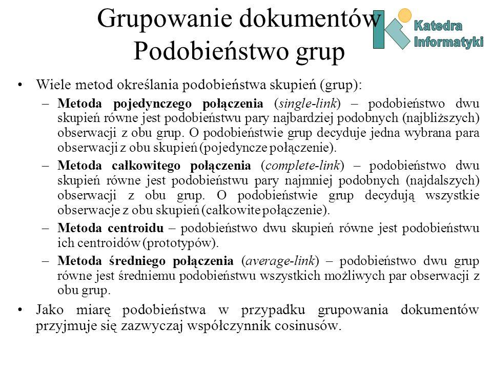 Grupowanie dokumentów Podobieństwo grup