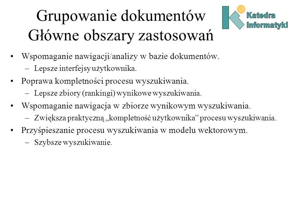 Grupowanie dokumentów Główne obszary zastosowań