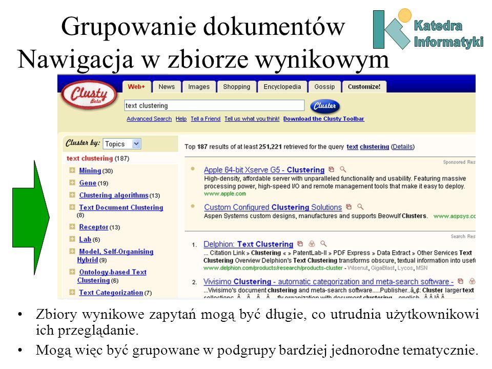Grupowanie dokumentów Nawigacja w zbiorze wynikowym