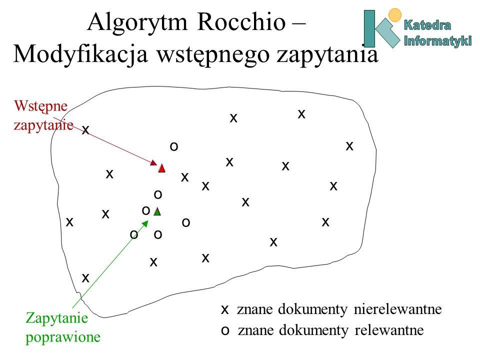 Algorytm Rocchio – Modyfikacja wstępnego zapytania
