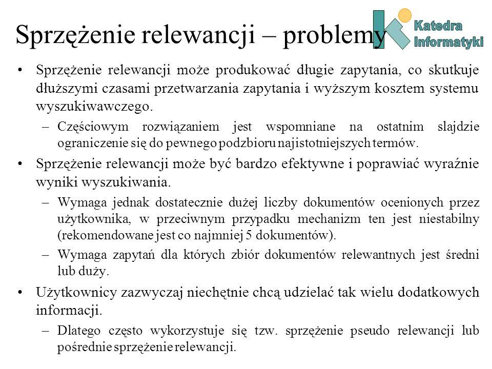 Sprzężenie relewancji – problemy