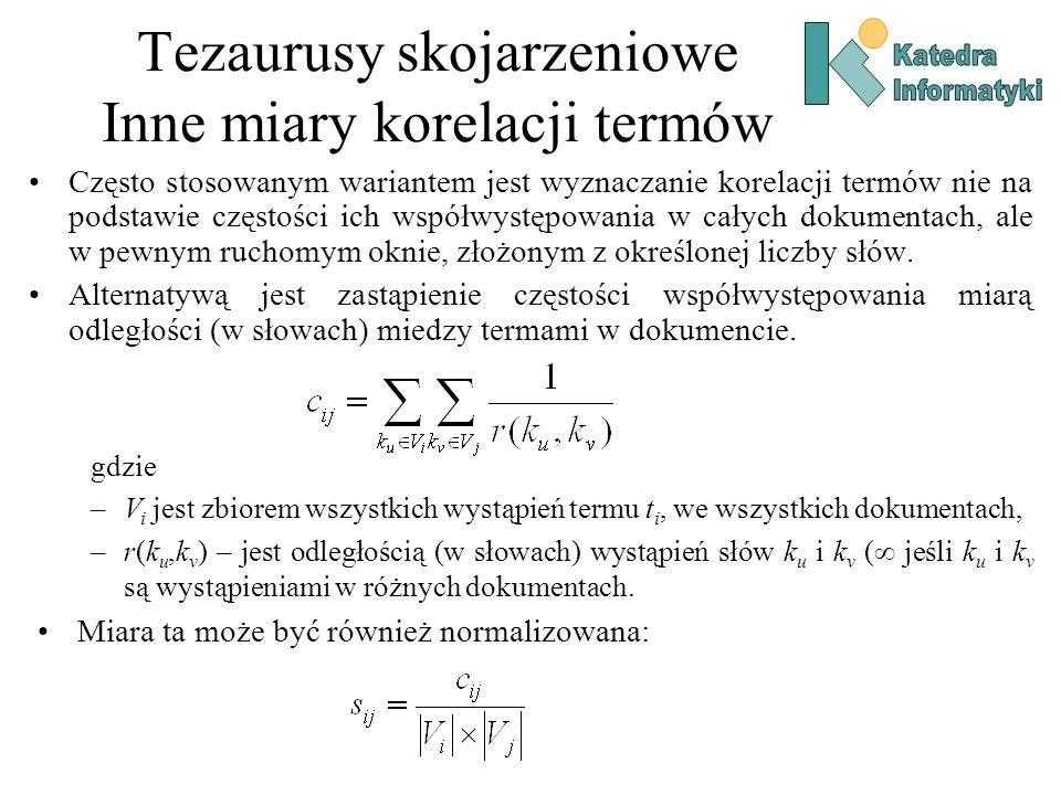 Tezaurusy skojarzeniowe Inne miary korelacji termów