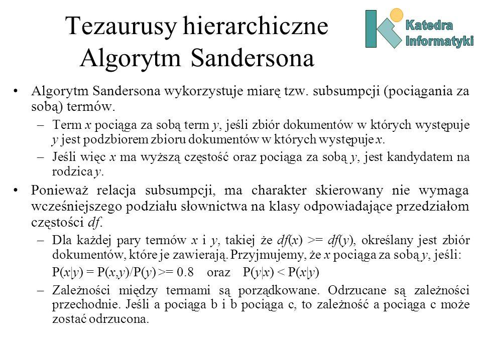 Tezaurusy hierarchiczne Algorytm Sandersona