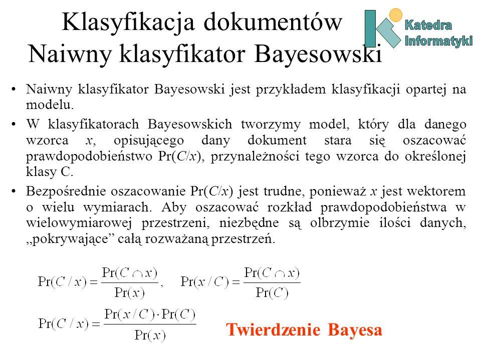 Klasyfikacja dokumentów Naiwny klasyfikator Bayesowski