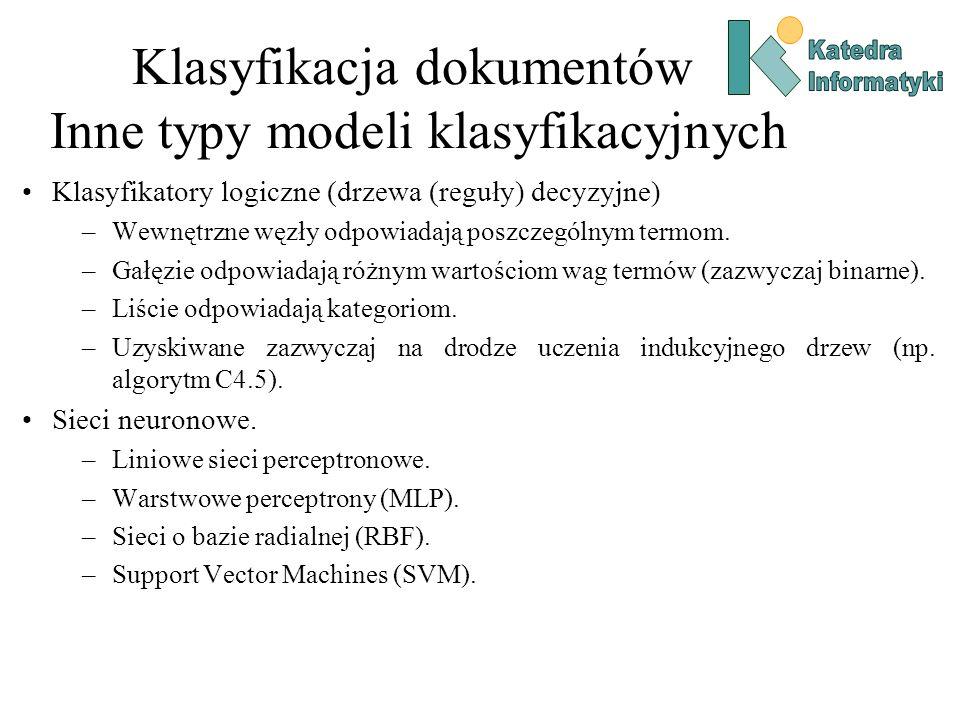Klasyfikacja dokumentów Inne typy modeli klasyfikacyjnych