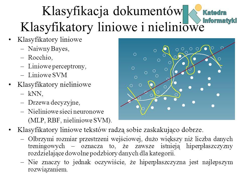 Klasyfikacja dokumentów Klasyfikatory liniowe i nieliniowe