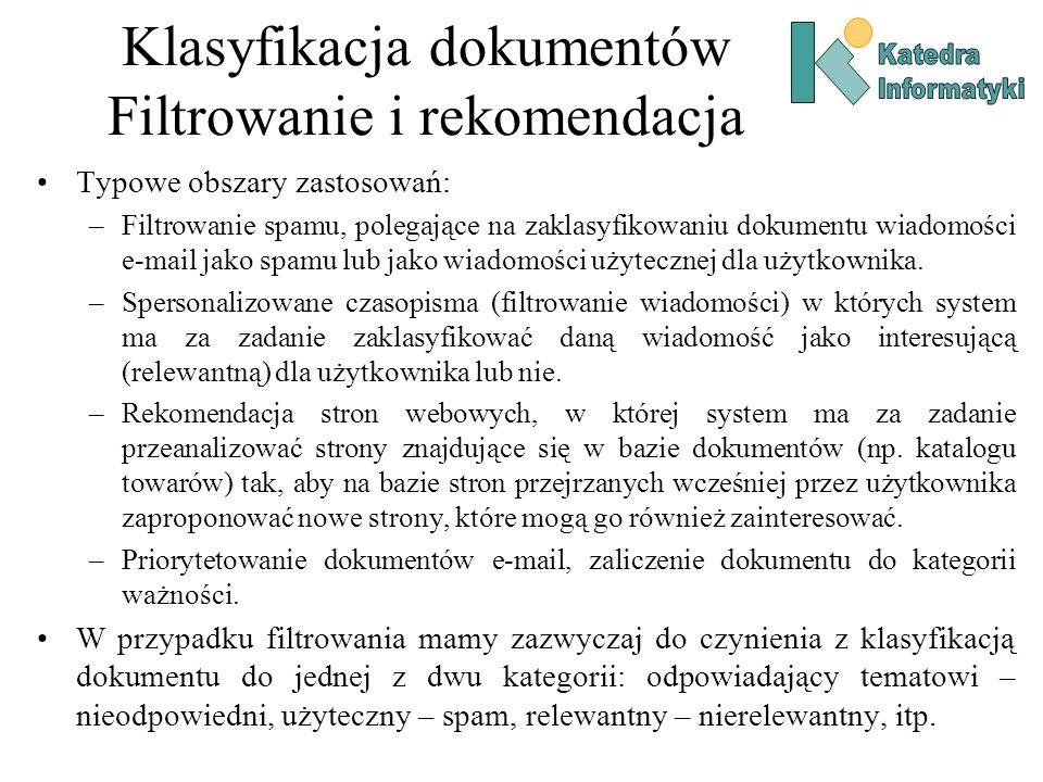 Klasyfikacja dokumentów Filtrowanie i rekomendacja