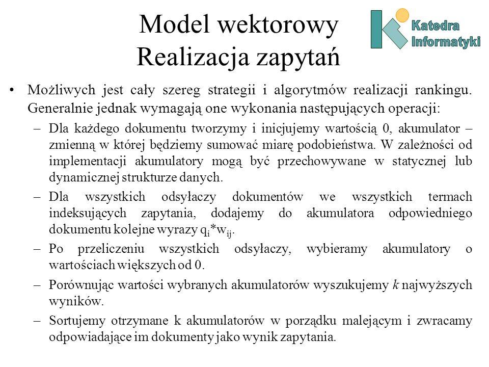 Model wektorowy Realizacja zapytań