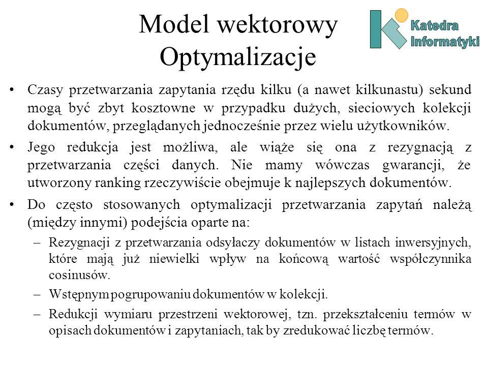 Model wektorowy Optymalizacje
