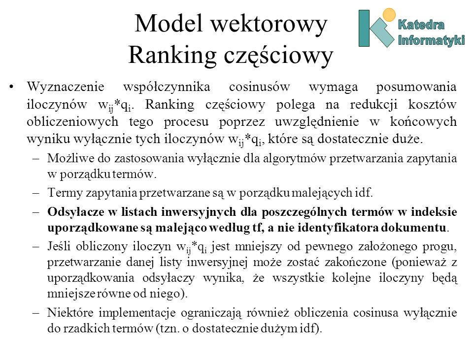 Model wektorowy Ranking częściowy
