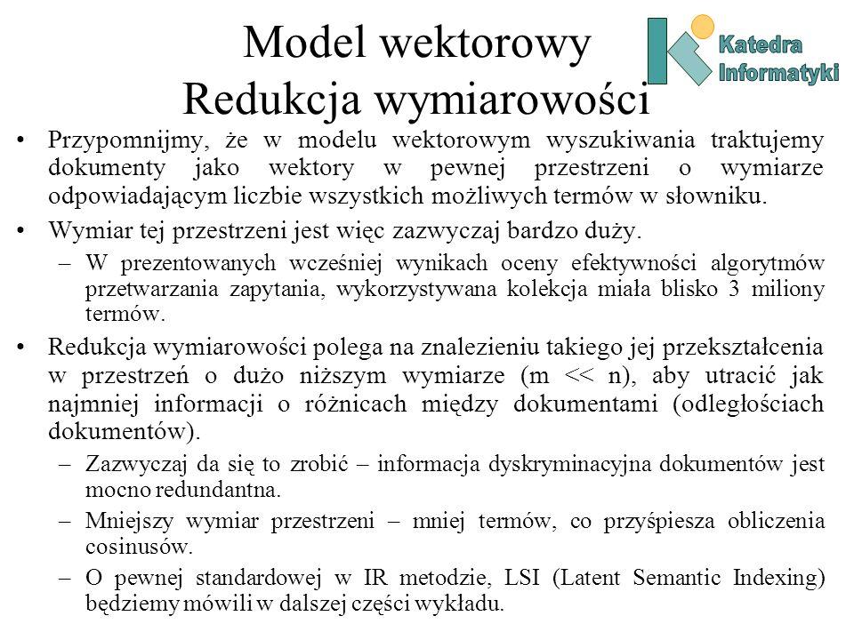 Model wektorowy Redukcja wymiarowości