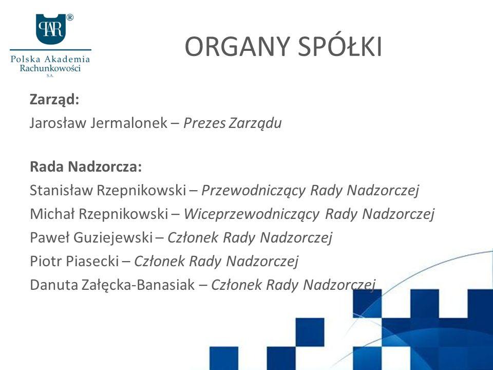 ORGANY SPÓŁKI Zarząd: Jarosław Jermalonek – Prezes Zarządu