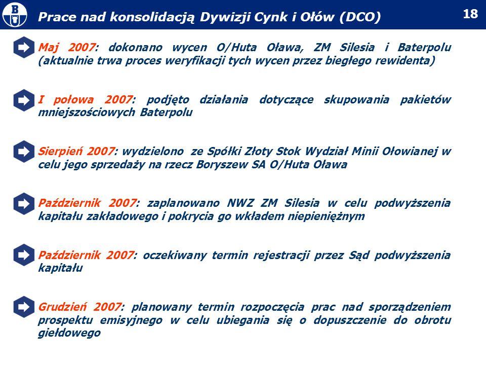 Prace nad konsolidacją Dywizji Cynk i Ołów (DCO)