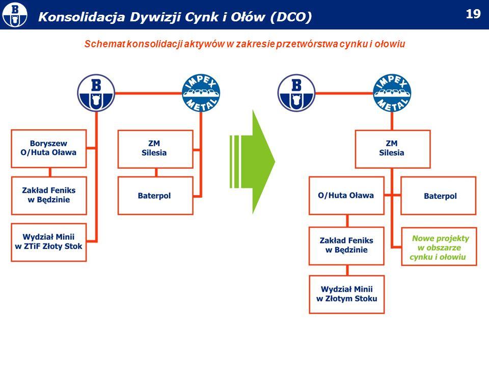 Schemat konsolidacji aktywów w zakresie przetwórstwa cynku i ołowiu