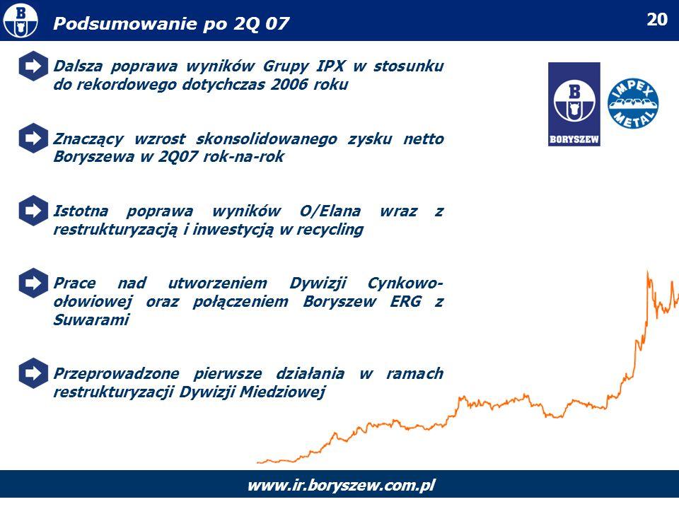 Podsumowanie po 2Q 07 Dalsza poprawa wyników Grupy IPX w stosunku do rekordowego dotychczas 2006 roku.