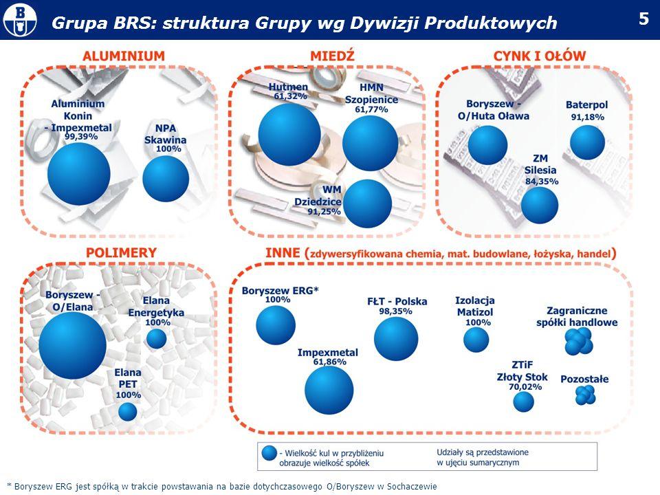 Grupa BRS: struktura Grupy wg Dywizji Produktowych