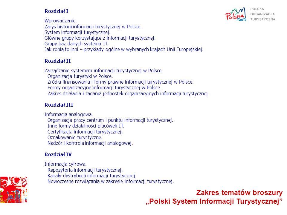 """Zakres tematów broszury """"Polski System Informacji Turystycznej"""
