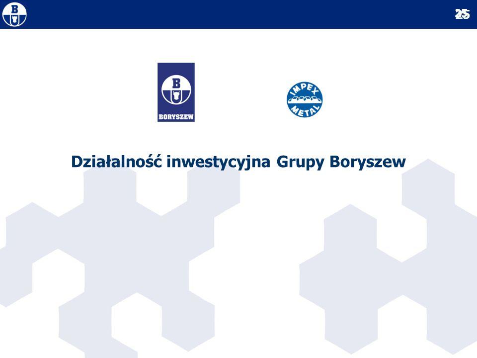 Działalność inwestycyjna Grupy Boryszew