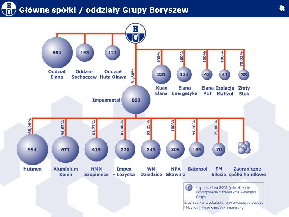 Główne spółki / oddziały Grupy Boryszew