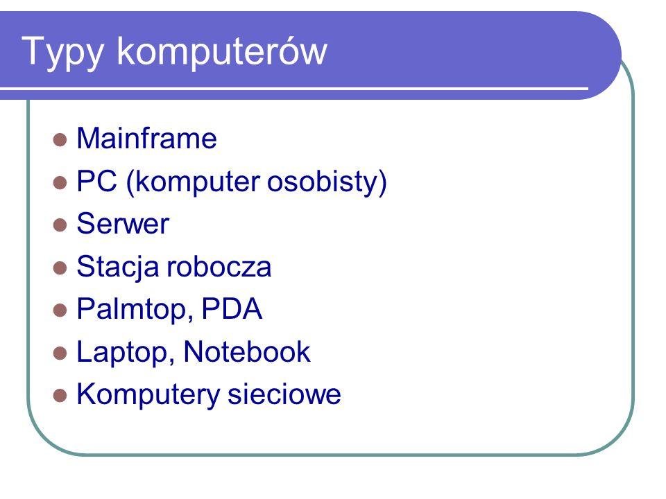 Typy komputerów Mainframe PC (komputer osobisty) Serwer Stacja robocza
