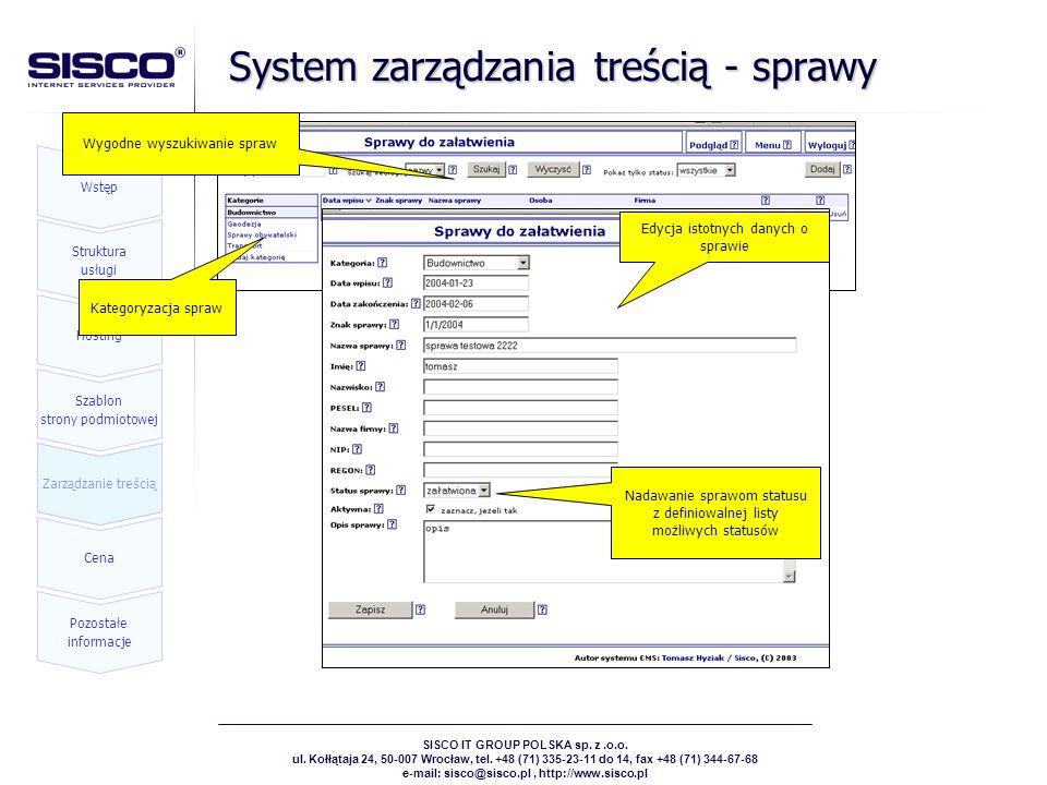 System zarządzania treścią - sprawy
