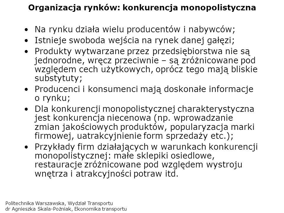 Organizacja rynków: konkurencja monopolistyczna