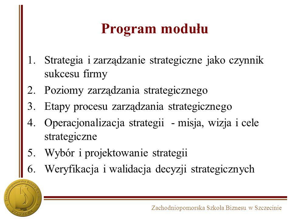 Program modułu Strategia i zarządzanie strategiczne jako czynnik sukcesu firmy. Poziomy zarządzania strategicznego.