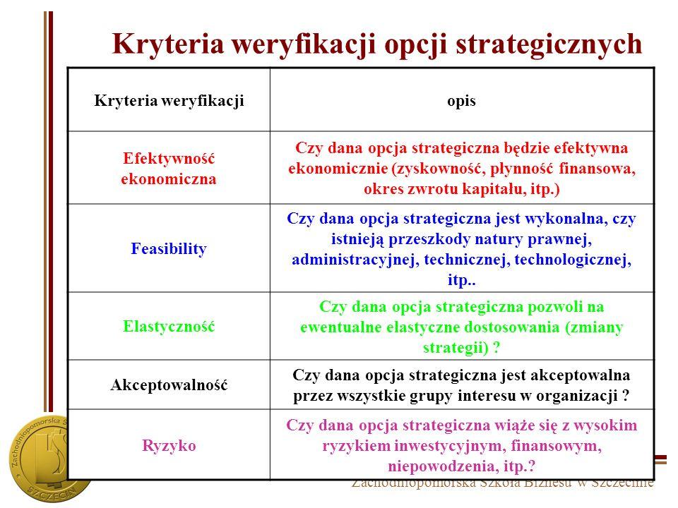 Kryteria weryfikacji opcji strategicznych