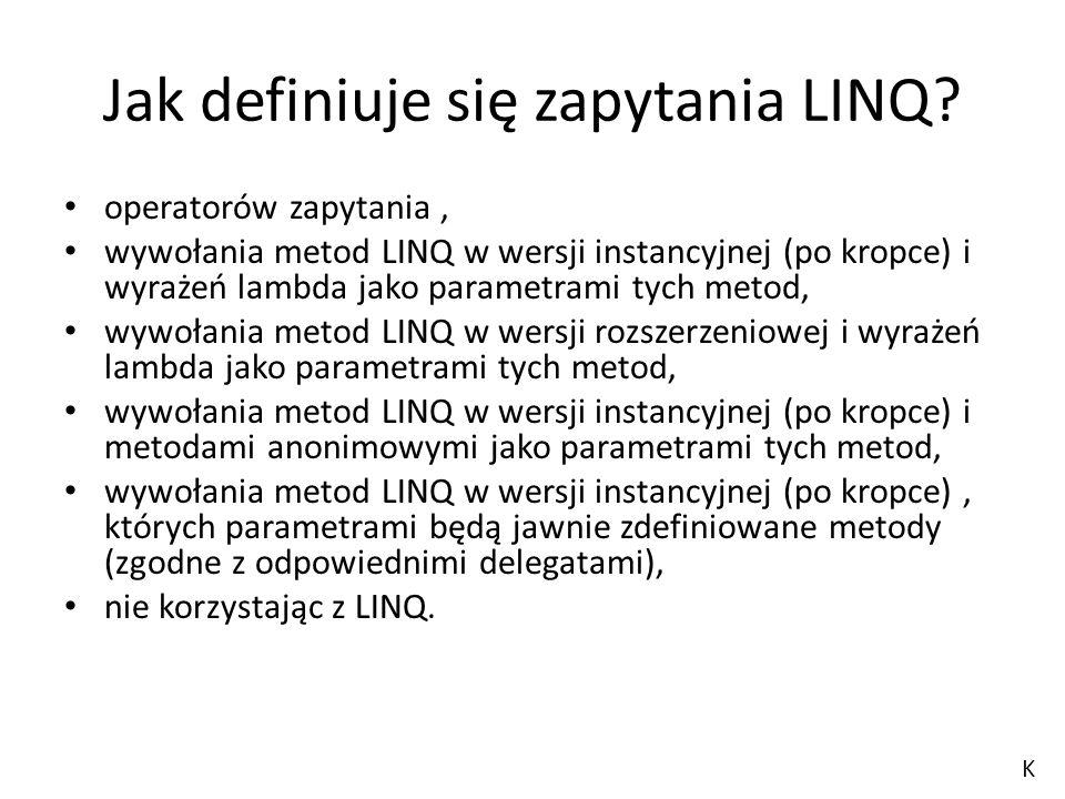 Jak definiuje się zapytania LINQ