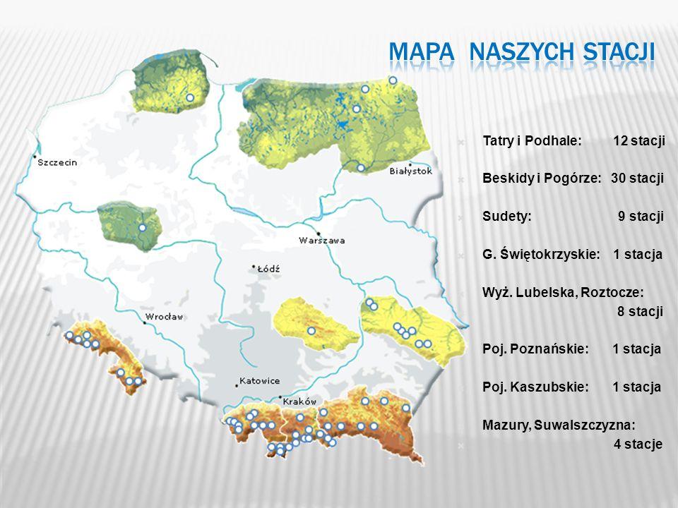 MAPA NASZYCH STACJI Tatry i Podhale: 12 stacji