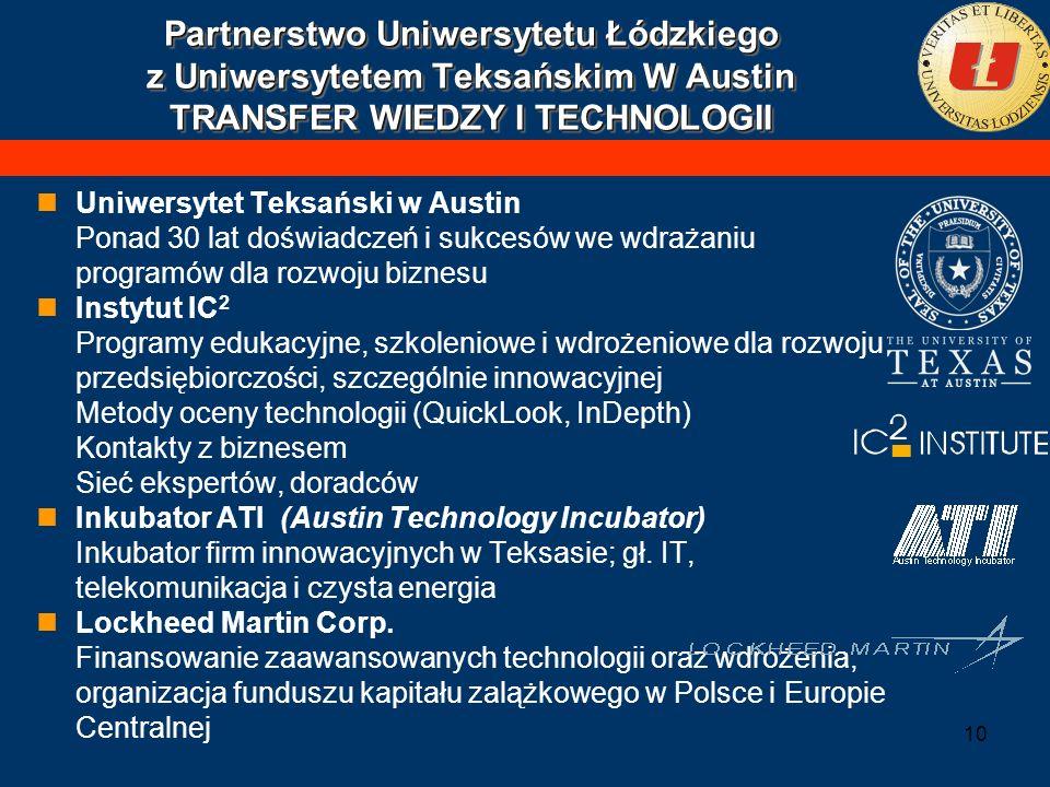 Partnerstwo Uniwersytetu Łódzkiego z Uniwersytetem Teksańskim W Austin TRANSFER WIEDZY I TECHNOLOGII